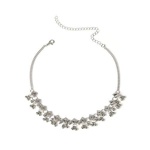 FOReverweihuajz Mode Geometrische Rhombus CCB Kralen Bedel Kraag Choker/Ketting Vrouwen Delicate Sieraden - Zilver 1 ZILVER