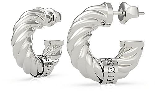 Guess Pendientes de aro de acero inoxidable para mujer, talla única, plata 32015822