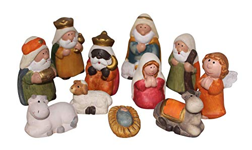 Ensemble de 11 Figurines de Crèche de Noël 7,5cm, Nativité,