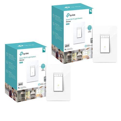 TP-LINK 2 Pack HS220 Kasa Smart Wi-Fi Dimmer Light Switch