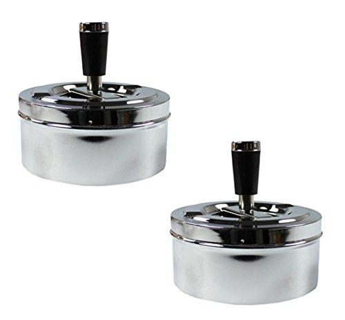 com-four® 2 Aschenbecher aus Metall für Innen- und Außenbereich (Drehfunktion - 2 Stück)