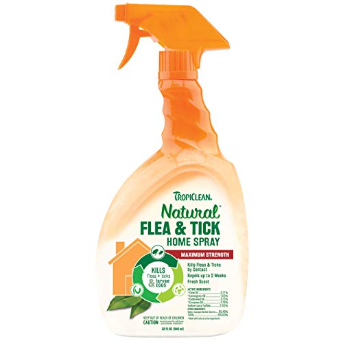 TropiClean Natural Flea & Tick Home Spray For Dogs, 32oz, Made in USA