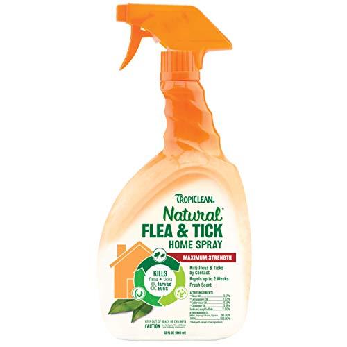 TROPICLEAN Spray Anti Pulgas y Garrapatas para Casa - Máxima Potencia - Mata 99% de Garrapatas, Pulgas, Larvas y Huevos - Repele por 2 Semanas - Seguro - Ingredientes Naturales - Aroma Fresco, 946 ml