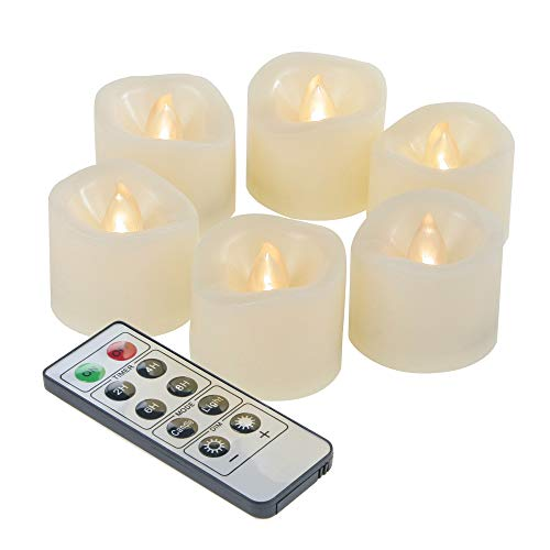 iZAN 6-Pack Flameless Battery Operated LED Tealight Candles with Remote Waved-top Flickering Electric Decorative Tea Lights for Christmas Home Party Wedding Decorations1.5x1.5 Batteries Included
