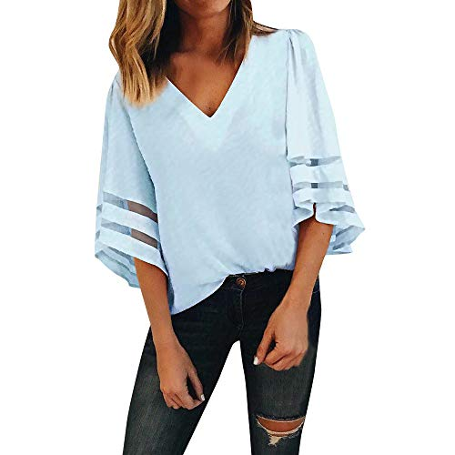 Nufelans Vrouwen Blouse Effen Pullover Tee Zomer V-hals Trompet Mouw Casual Shirt Vest Tops