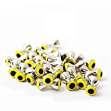 M MAXIMUMCATCH Maxcatch 25Pc Fly Tying Beads Brass Dumbbell with Eyes Fly Tying Material 3.2/4.0/4.8/5.5/6.3mm (Silver with Yellow Eyes, 4.0mm)
