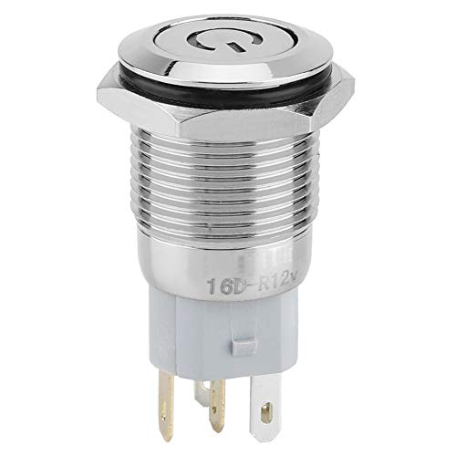 Interruptor de botón momentáneo, impermeable Superink luces inalámbricas BEM-16-11D cobre 16mm (verde)