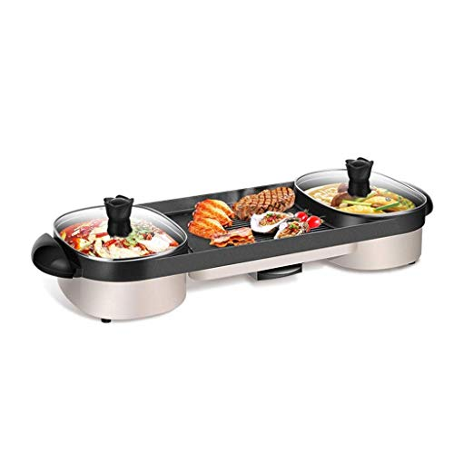 DIAOD Electric Hot Pot, Electric Grill, Household Grilled Fish Plate Multi-Function 2-in-1 Electric Hot Pot Barbecue,Suitable for 7-8 People Dining