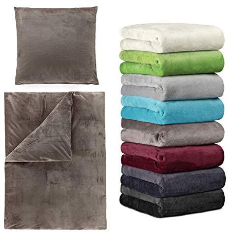 BaSaTex Winter Cashmere Touch Bettwäsche und Spannbettlaken in verschiedenen Größen und vielen Farben, 140x200 bis 160x200 cm Anthrazit