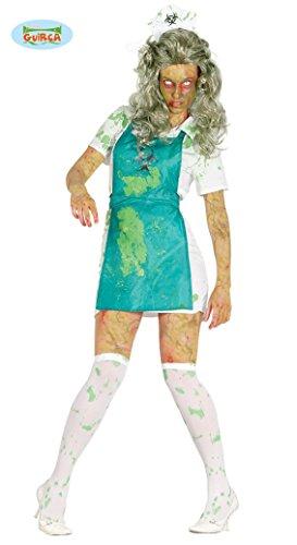 Untote Biologin Kostüm für Damen Halloween Horror Anschlag Bio verseucht Gift vergiftet Fasching Zombiekostüm Bio Hazard Zombie Herrenkostüm Atom Unfall Gr. S-M, Größe:S