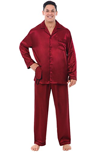 Alexander Del Rossa Men's Button Down Satin Pajama Set with Sleep Mask, Long Silky Pjs, XL Burgundy with Black Piping (A0752BGBXL)
