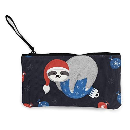 Yuanmeiju Unisex Lindo bebé Perezoso se Encuentra en la Bola de Navidad Azul Mujer niña Moda Monedero de Lona Monedero con Cremallera Billetera Bolsa de Maquillaje Bolsa de lápiz