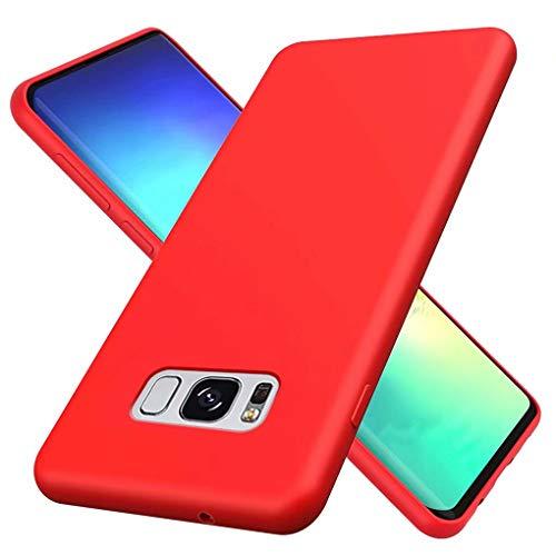 NiaCoCo Kompatibel mit Samsung Galaxy S8 Hülle Ultradünn Flüssiges Silikon Weicher Mikrofaser Stoff Futter Pad Kratzschutz Handyhülle+1PCS Displayschutzfolie - (Rot)