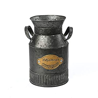 TOPNEW Shabby Chic Flower Vase - Vintage Farmhouse Jug Vase Milk Can Pitcher Galvanized Metal Rustic Vase Holder for… - 🌼Vintage, rustic and french country, this pitcher-style galvanized vase will add elegance and style to your home 🌻Dimensions: Height 8''(20.5cm), Bottom Diameter 5''(12.5cm), Material: Metal iron. Package includes 1 x shabby chic flower vase(Flowers are NOT included) 🌿Flower Arrangement: Perfect for fresh flowers and greenery from your garden, small potted plants as well as artificial flowers. Note: Please put bags inside to hold water for fresh flowers - vases, kitchen-dining-room-decor, kitchen-dining-room - 41SCZinLYaL. SS400  -