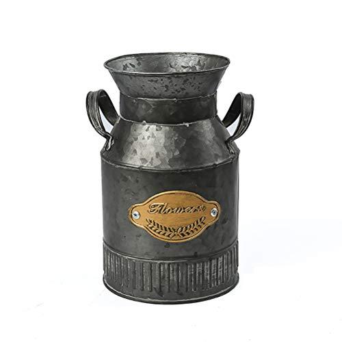 TOPNEW Shabby Chic Flower Vase - Vintage Farmhouse Jug Vase Milk Can Pitcher Galvanized Metal Rustic Vase Holder for Home Decor