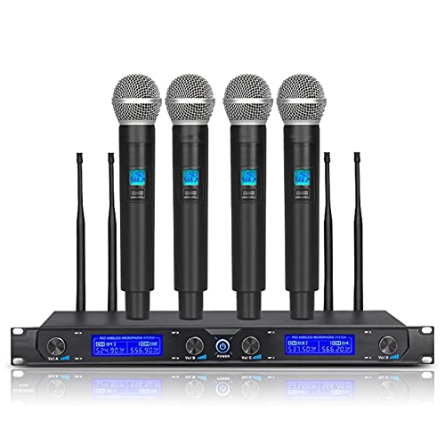 zunruishop Cambiador de Voz UHF Sistema de micrófono inalámbrico Profesional 4 Canales Cardioide Dynamic Handheld Micrófono para la Etapa del Partido de Karaoke, Negro Altavoz con micrófono