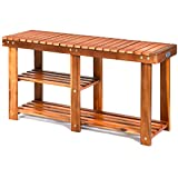 PATIOJOY 3-Tier Shoes Rack Bench, Entryway Storage Bench Shoes Organizer with Seat, Shoe Shelf for Boots, Acacia Wood Bench for Hallway, Bathroom, Living Room, Corridor Garden