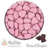 1kg Dragées Coeur Chocolat - Rose - reves et dragees mes fetes
