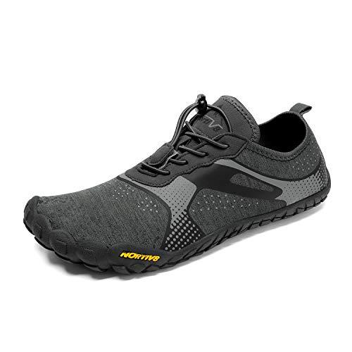 NORTIV 8 Men Water Aqua Shoes Swim Beach Sports Quick Dry Barefoot Outdoor for Fishing Hiking Diving Surf Walking Athletic Snorkeling Yoga Gym Dark/Grey Size 11 US TREKMAN1