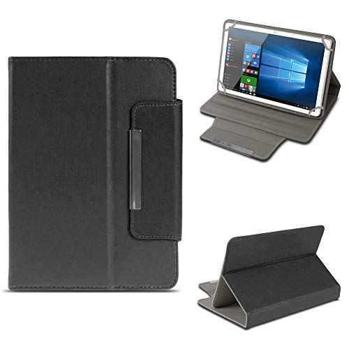 NAUC Odys Cosmo Win X9 Tablet Schutzhülle Tasche aus Kunst-Leder Hülle Standfunktion Cover Universal Hülle Magnetverschluss, Farben:Schwarz