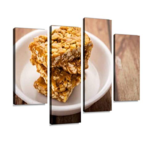 IGOONE 4 Panels Canvas Paintings - Peanut Brittle or Groundnut chikki with Jaggery Caramel Toffee - Wall Art Modern Posters Framed Ready to Hang for Home Wall Decor