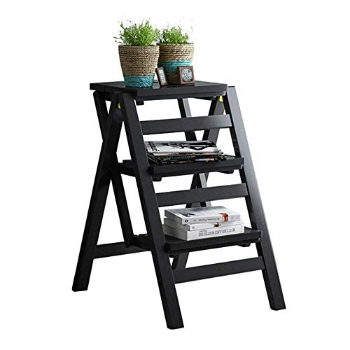 Taburete de bambú Taburetes de escalera plegable de madera, estantes multifuncionales del soporte de la flor de la escalera de la escalada