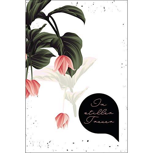 Merz Designkarten 10 Stück einfühlsame Premium-Trauerkarten/Beileidskarten (Blumenmotiv) im Set mit 10 Umschläge - Anteilnahme Trauerkarte, Beileid Mitgefühl Spruch