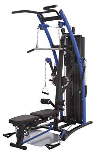 ALTAS Strength AL-2003 Multiple Function Home Gym Body Weight Training with Pulley, Press Arm, Butterfly and Leg Developer Black and Blue 200Ib Weight Stack Light Commercial Equipment