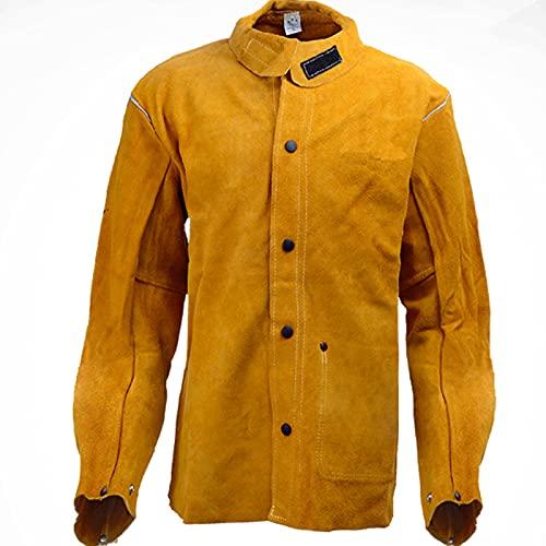TXYJ Chaqueta de soldadura de cuero, traje eléctrico, bata de caldera, protección de brazos, mangas protectoras, delantal de seguridad para hombre, electricista, trabajador, abrigo, XXL