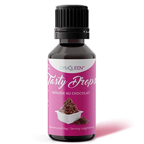 GymQueen Tasty Drops 30ml / Kalorienfreie, Zuckerfreie und Fettfreie Flavour Drops / Aroma Tropfen zum Süßen von Lebensmitteln / Geschmackstropfen ohne Künstliche Farbstoffe / Mousse au Chocolat
