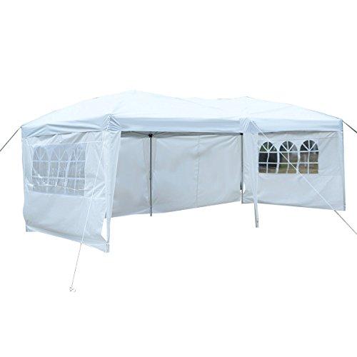 COSTWAY Gartenpavillon Partyzelt Bierzelt Pavillon Gartenzelt Hochzeit Festzelt Zelt 3 x 6 m Farbwahl (Weiß)