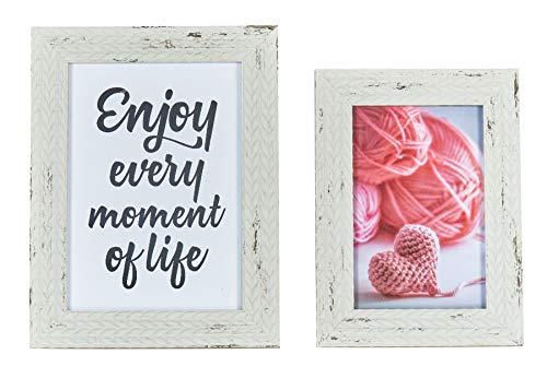 levandeo 2er Set Bilderrahmen Creme Weiß gewischt Holz 10x15 13x18 Shabby Chic Vintage Landhausstil Portraitrahmen Fotorahmen Einzelrahmen