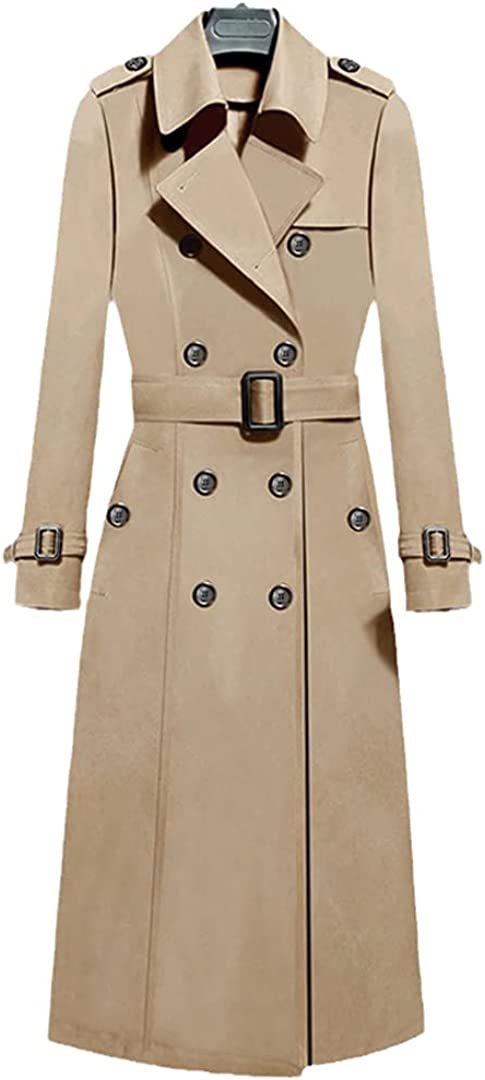 Autumn Winter Women Vintage Turn-Down Collar Double Breasted Long Trench Casual Ladies Slim Trench with Belt