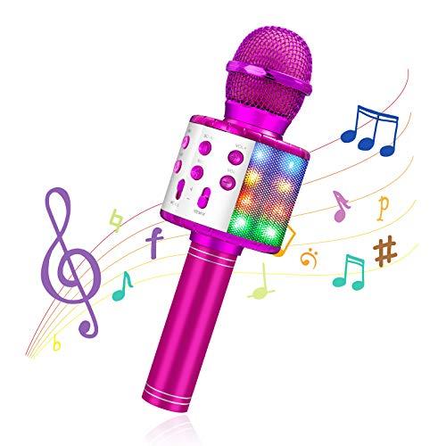 MOOKLIN ROAM Drahtloses Bluetooth Karaoke Mikrofon für Kinder, Tragbarer 4-in-1 Karaoke Maschinenlautsprecher, Heim KTV Player mit Aufnahmefunktion, Kompatibel mit Android iOS und PC (pink)