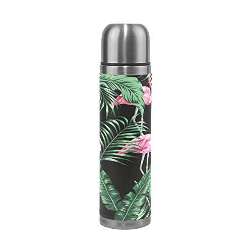 Emoya Flamingo Bouteille isotherme en acier inoxydable avec feuilles de palmier tropicales Vert 0,5 l