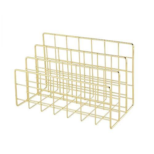 Asalinao Schreibtisch Organisation, drei schmiedeeiserne Bücherregal kreative Metall Bücherständer Desktop-Dekoration (Gold)