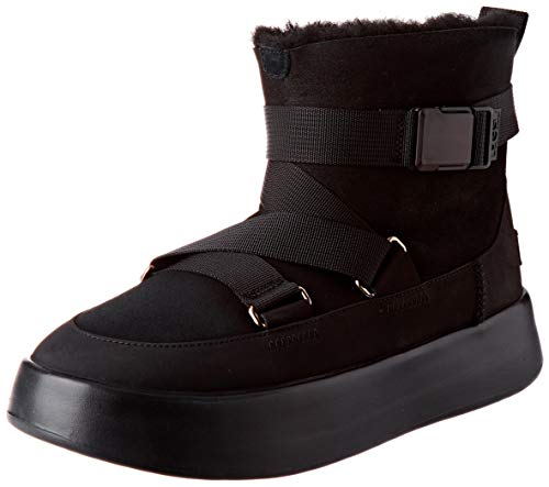 UGG Womens Classic Boom Buckle Boot, Black, Size 9