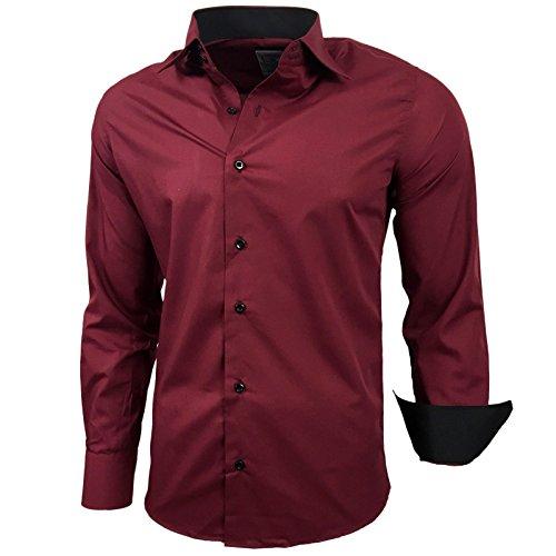 Subliminal Mode – Camisa de hombre, cuello bicolor liso, manga larga, corte fino para negocios, idea regalo,...