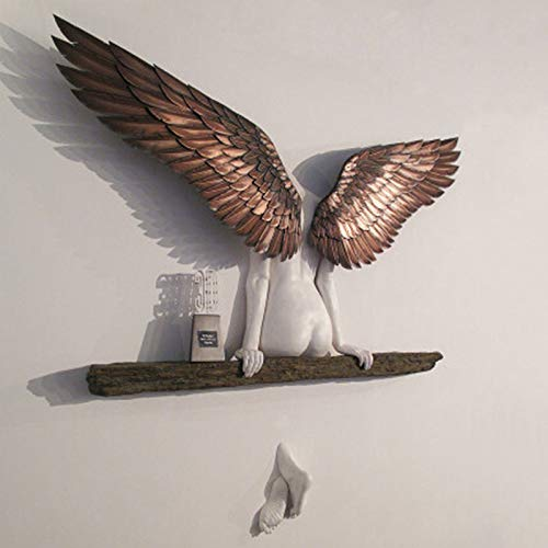 Fostar Angel Art Sculpture Wanddekoration 3D-Statue für Wohnzimmer Schlafzimmer Dekoration