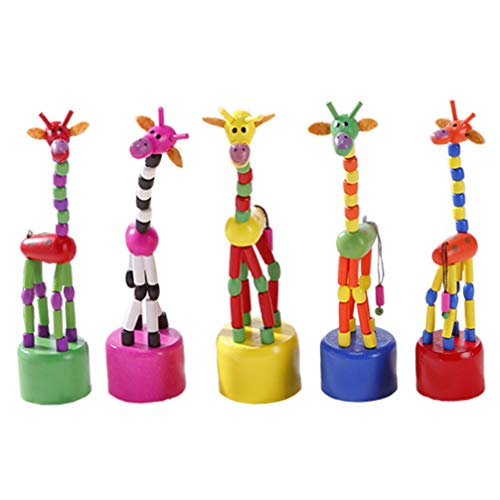 STOBOK 5Pcs Wooden Giraffe Figurine Toy Dancing Rocking Giraffe Finger Puppets Push Up Toys for Boys Kids Girls (Random Style)