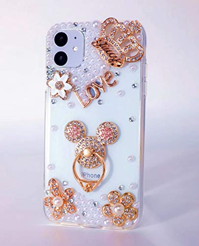 iPhone 11 Pro Max Diamond Case,iPhone 11 Pro Max Gold Mouse Case,3D Handmade Original Gemstone Crystal Rhinestone Bling Glitter Diamond Clear Cover Phone Case for iPhone 11 Pro Max 6.5'',NO4