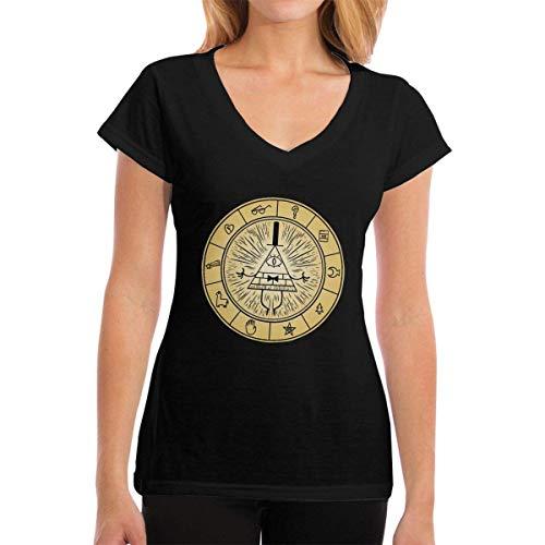 Henrnt Damen T-Shirt, Womens V-Neck T-Shirt Gravity Falls Vintage Summer Printed Short Sleeves Cotton Casual Tops