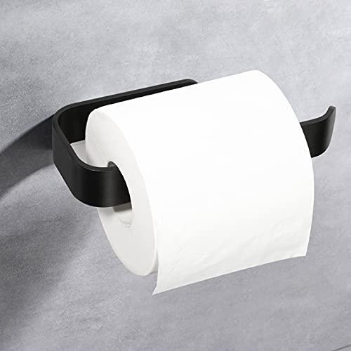 KERMEO Supporto per Carta Igienica Senza Fori, Dispenser per Rotoli di Carta Igienica A Muro, Supporto per Carta per il Bagno e la Cucina. Colore Nero Opaco.