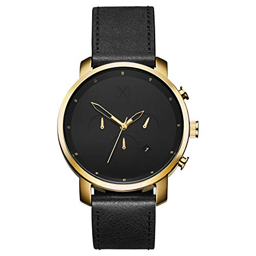 MVMT Chrono Mens Watch, 45 MM   Leather Band, Analog Watch, Chronograph with Date   Gold Black