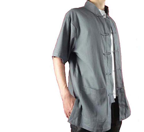 Interact China 100% Coton Chemise Grise Kung Fu Tai Chi  Homme Col Mao sur Mesure #122