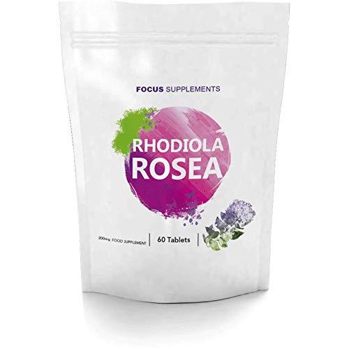 Rhodiola Rosea 200 mg Comprimidos - Fuente de Alta Calidad de Rosavin y Salidrosida   PÉRDIDA DE PESO Y AUMENTO DE ENERGÍA   Focus Supplements - Fabricado en UK en Instalaciones con Licencia ISO - Reembolso 100% Garantizado (60 Tabletas)
