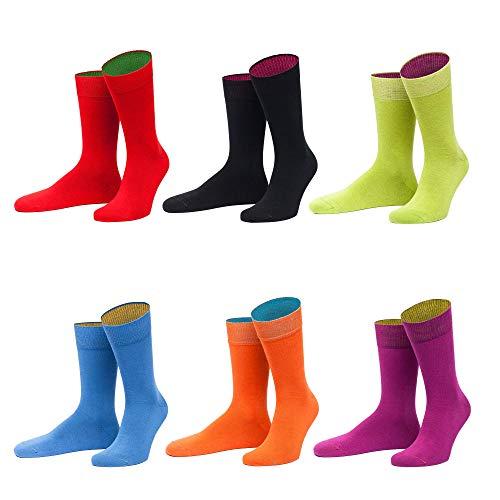 von Jungfeld - Herren Socken / Strumpf Herrensocken 6er-Pack gemischte Farben (Rot, Lila, Schwarz, Hellblau, Orange, Hellgrün, 39-42)
