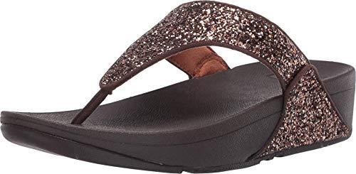 Fitflop Lulu Offene Glitzer-Sandalen für Damen, mit Zehentrenner, Braun - 806 Metallic-Schoko - Größe: 40 EU