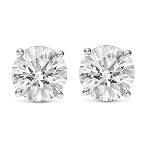 1 1/2 1.5 Carat Total Weight White Round Diamond Solitaire Stud Earrings Pair set in 14K White Gold 4 Prong Push Back (H-I Color SI1-SI2 Clarity)