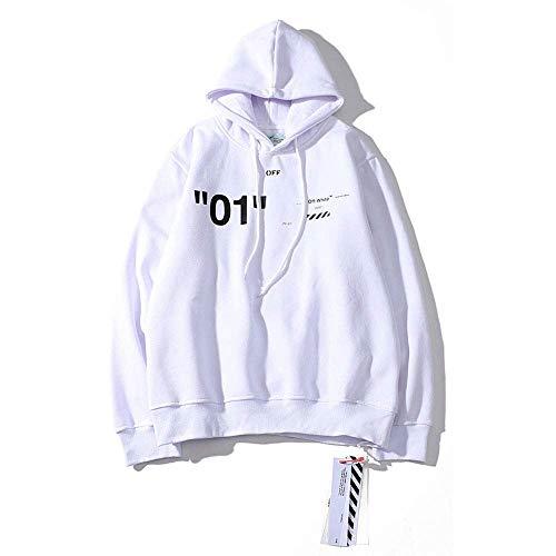 CVDEKH Streetwear Camisetas Off OW Logo Sudadera con Capucha Otoño Invierno Moda Casual Sudaderas para Hombres/Mujeres,Blanco,M